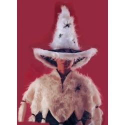 Chapeau de Sorcière en peluche blanche