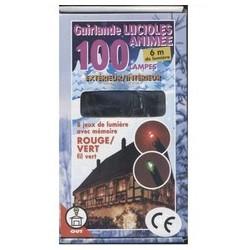 Guirlande étanche lucioles rouges et vertes animée 100 lampes