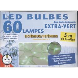 Guirlande étanche 60 led bulbes extra-vertes 5m + 10m