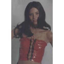Corsage rouge et noir bustier en vinyle corset avec lacage