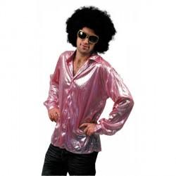 Chemise disco rose métal taille M/L