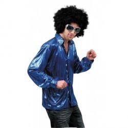 Chemise disco homme bleu métal taille M/L