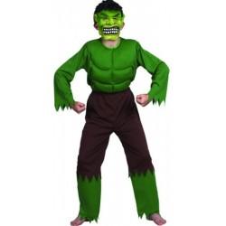 Homme musclé vert comme Hulk monstre vert 7/9 ans