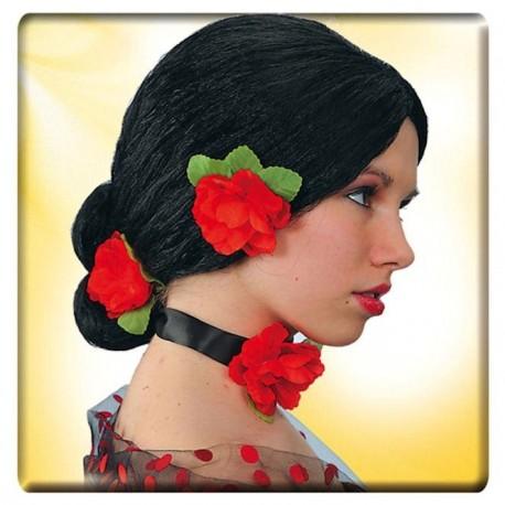 perruque-espagnole-rosita-chignon-bas-avec-fleurs-rouges