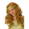 Perruque de fée d'elfe ou de princesse rousse vert et jaune