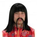 Perruque et moustache de chinois Carré long noir