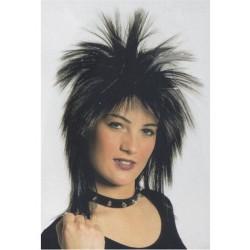 Perruque Tina noire façon année 80 lamée argent