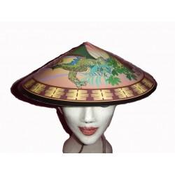 Chapeau chinois en carton avec dragon et soleil