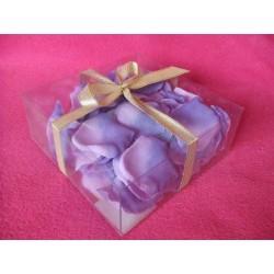 100 pétales de rose en tissu parme thermoformés