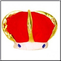 Couronne de roi Tiare rouge or et blanc coiffe en tissu
