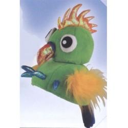 Chapeau d'oiseau fou vert perroquet coiffe humoristique