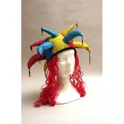Chapeau de bouffon avec cheveux rouges, fou du roi