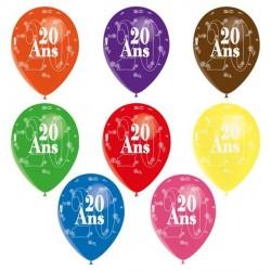 8 ballons de baudruche Jubilé de 20 ans décor tout autour