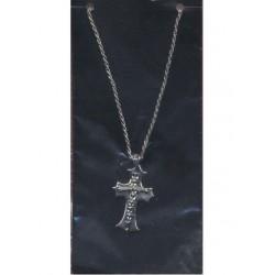 Chaine croix gothique avec colonne vertébrale couleur argent