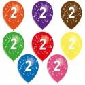 8 ballons de baudruche chiffre 2 décorés tout autour ø 30 cm