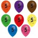 8 ballons de baudruche chiffre 5 décorés tout autour ø 30 cm