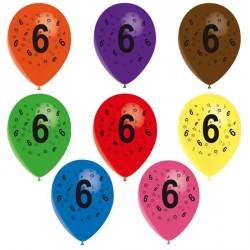 8 ballons de baudruche chiffre 6 décorés tout autour ø 30 cm