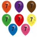 8 ballons de baudruche chiffre 7 décorés tout autour 30 cm Ø