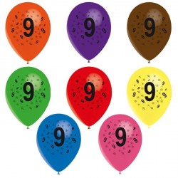 8 ballons de baudruche chiffre 9 décorés tout autour ø 30 cm