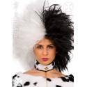 Perruque noire et blanche style Cruella crudelia