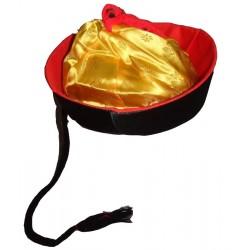 Chapeau chinois tissu satin noir mandarin Luxe