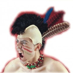 Perruque d'iroquois d'indien avec trois plumes assorties sur crâne en latex