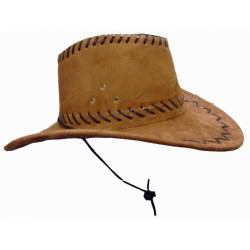 Chapeau de cow-boy tissu marron roux Western Country