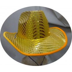 Chapeau de cow-boy pailleté jaune brillant or