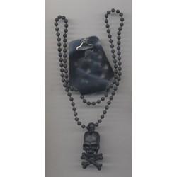 Collier de Pirate Noir tete de mort crane sur chaine boules