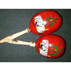 Maracas en bois peint à la main couleur selon arrivage