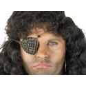 Cache oeil de pirate Bijou strass noirs sur fond doré