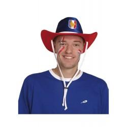 Chapeau de cow-boy aux couleurs de la France bleu blanc rouge